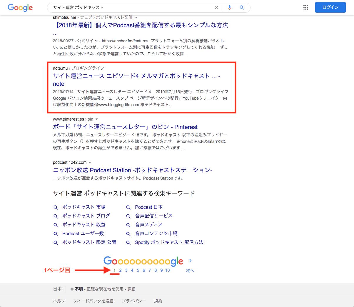 「サイト運営 SEO」のクエリ検索結果表示